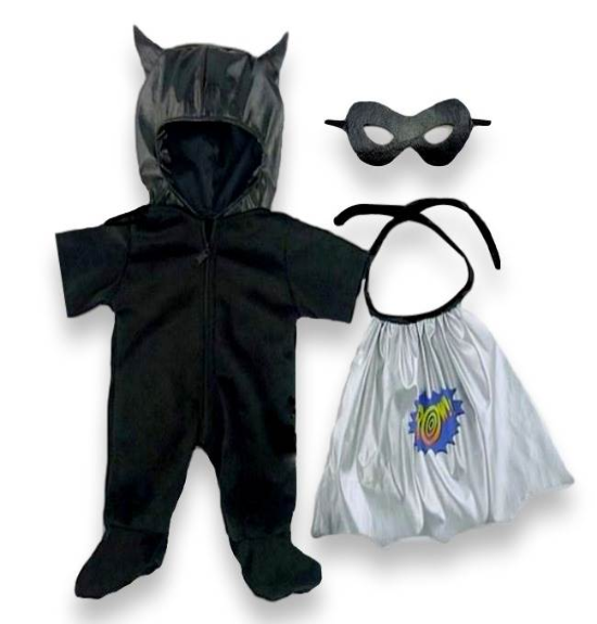 Build a bear fit Black Bat Super Hero Outfit teddy bear clothes