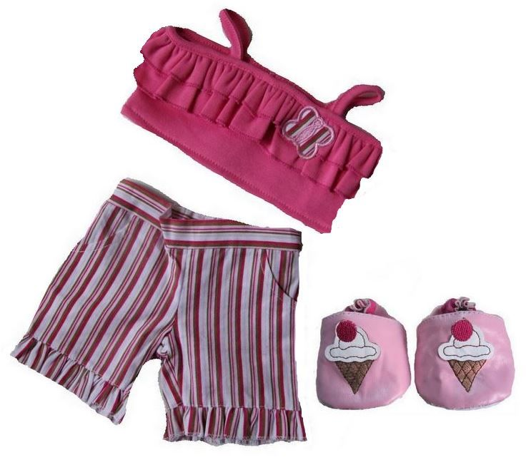 build a bear Candy Striped Teddy Bear Outfit with Shoes