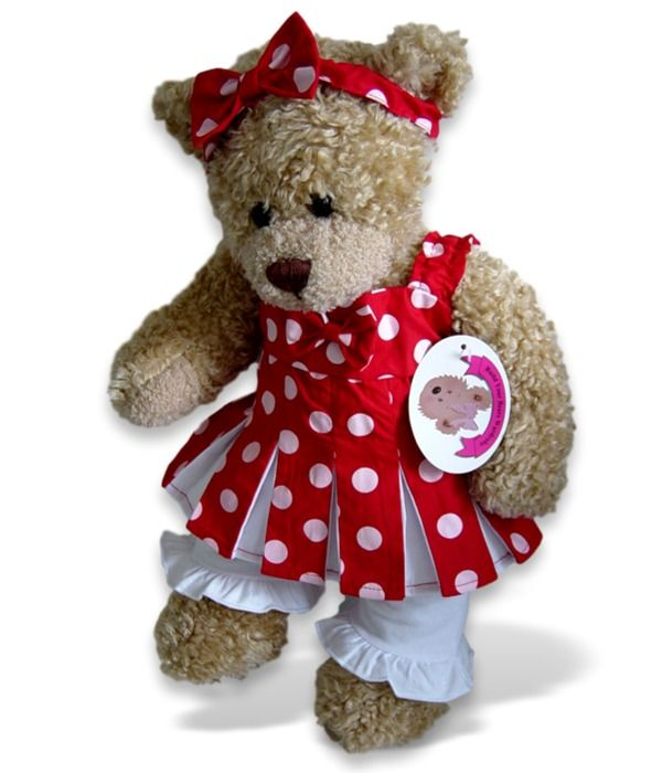 Teddy bear clothes polka dot red outfit (Imperfect)