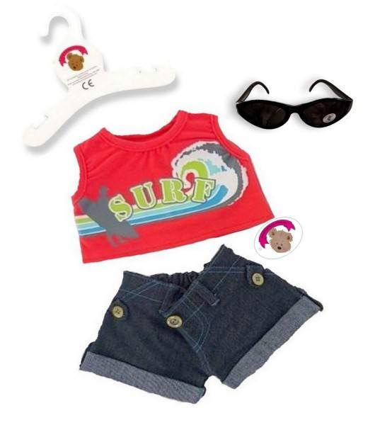 Red Surfer Outfit Teddy Bear Clothes