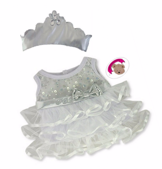 Snow Queen Dress & Crown Teddy Bear Clothes