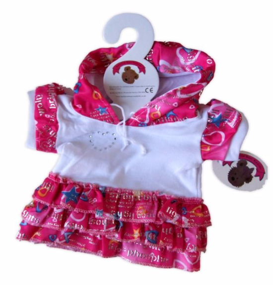 Teddy Bear Clothes Candy Pink Frilly Hooded Dress