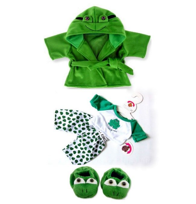 Teddy Bear Clothes Green Frog PJ's, Slippers & Robe