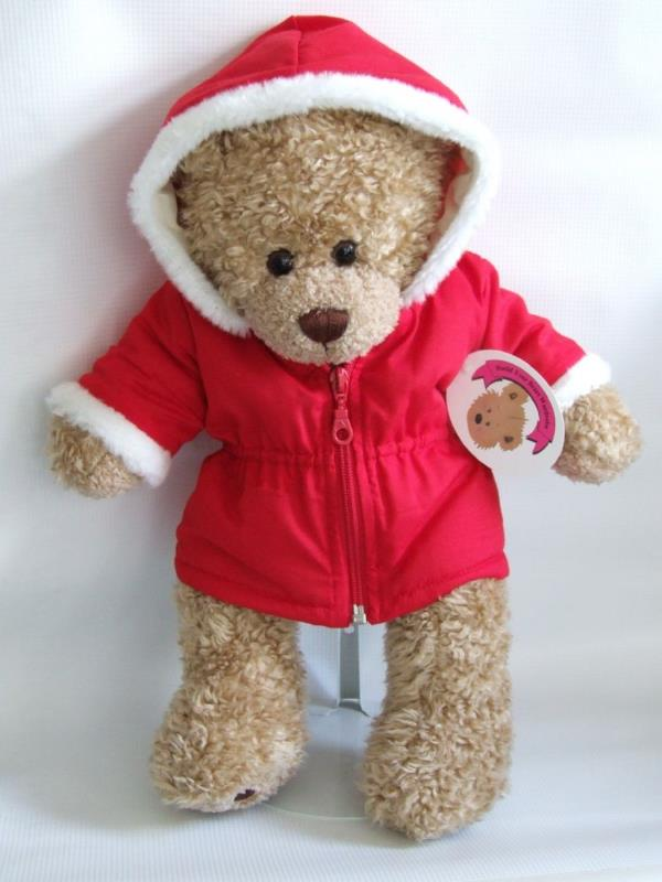 Teddy Bear Clothes Red Zip Up Coat