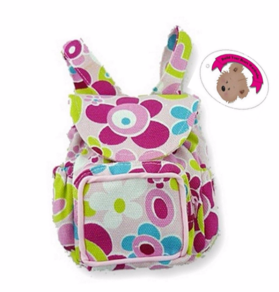 Zip Floral Back Pack fits 15in Teddy or Doll